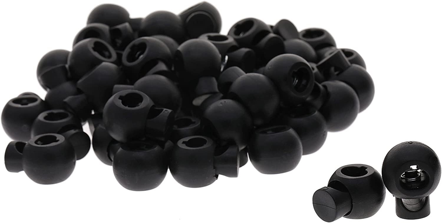 Small Shapenty 50PCS Round Ball Shape Black Plastic Toggle Single Hole Spring Loaded Elastic Drawstring Rope Cord Locks Clip Ends Bulk Luggage Lanyard Stopper Sliding Fastener Buttons,