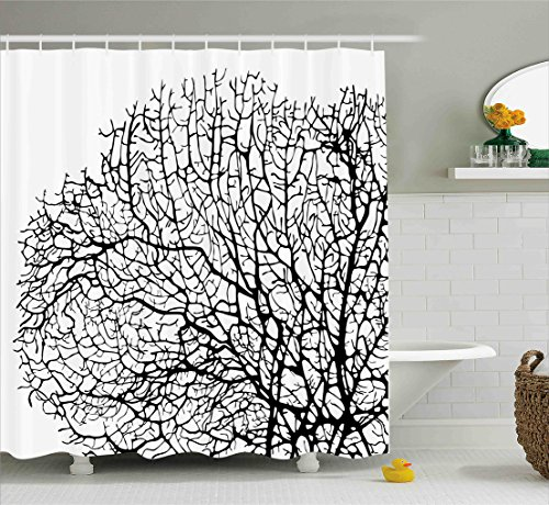 Ambesonne Nature Shower Curtain by, Silhouette of Twisted Coral Reef Branches in Minimalist Tones Underwater Design, Fabric Bathroom Decor Set with Hooks, 75 Inches Long, Black White