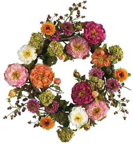 Nearly Natural 24in. Peony Wreath 24 inches round ()