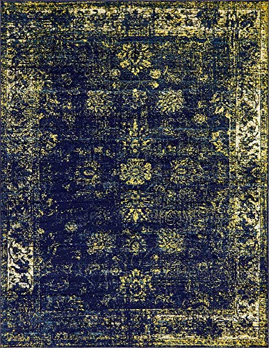 Unique Loom 3137812 Sofia Collection Traditional Vintage Beige Area Rug, 9' x 12' Rectangle, Navy Blue