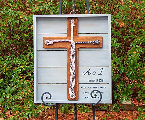 Cord Of Three Strands Wedding Sign, Rustic Wood Cross 17