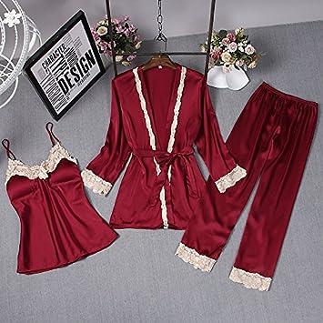 Wanglele La Primavera Y El Verano Mujer Pijama De Satén De Seda Tirantes Pantalones Pantalones Tres