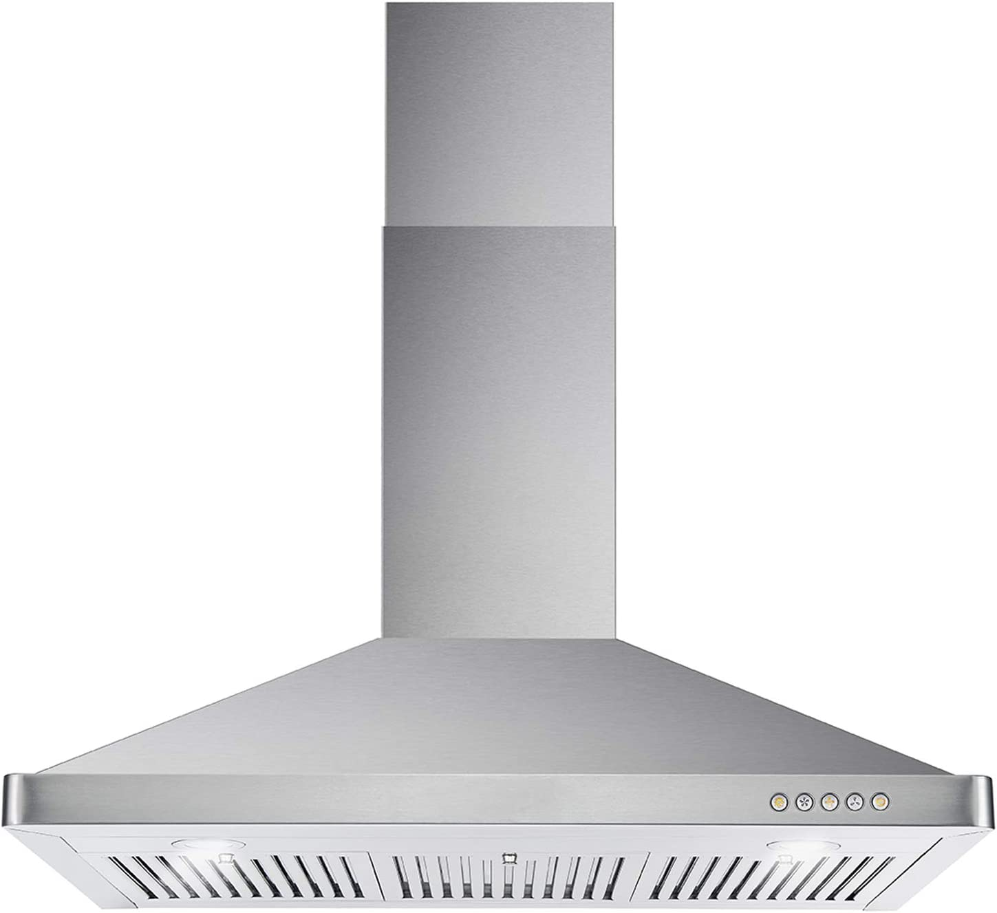 Cosmo 63190 Wall Mount Range Hood with Ductless Convertible Duct, Kitchen Chimney-Style Over Stove Vent, 3 Speed Exhaust Fan, Permanent Filters, LED Lights in Stainless Steel, 36 inch