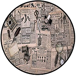 Printing Round Rug,Clock Decor,Antique Accessories Design Old Fashion Magazine Sewing and Writing Tools Mat Non-Slip Soft Entrance Mat Door Floor Rug Area Rug For Chair Living Room,Beige and Black
