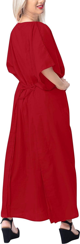 LA LEELA Donne Rayon Kaftan Tunica Solido Plain Kimono Libero Formato Lungo Maxi Partito Caftano Vestito per Loungewear Vacanze Pigiama Spiaggia di Tutti i Giorni Coprire i Vestiti H