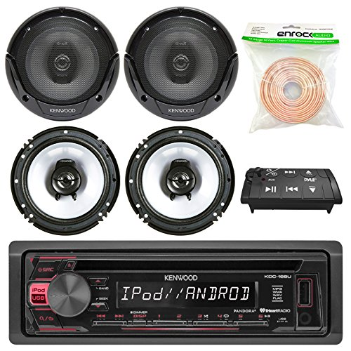 2 Way Bluetooth Adaptor (Kenwood KDC-165U In Dash Car Audio AM/FM Pandora iHeart Radio Receiver - 4 x Kenwood KFC-1665S 6.5