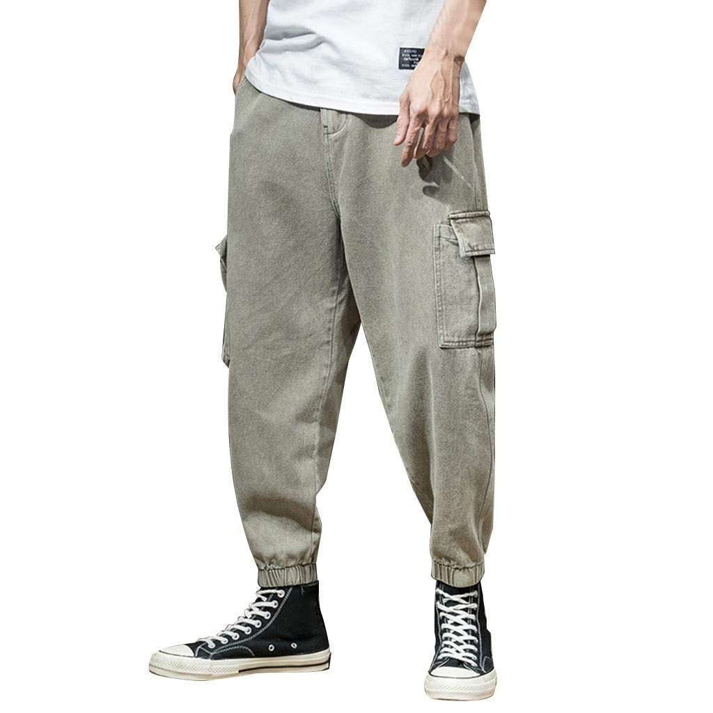 TIFENNY Sports Ankle-Length Pants for Men Summer Overalls Casual Pure Colour Comfortable Trousers Sweatpants