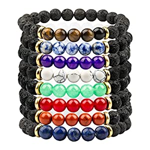 Citled 8pcs Natural Lava Stone Elastic Beaded Bracelet Healing Energy Stretch Unisex Essential Oil Jewelry 8mm