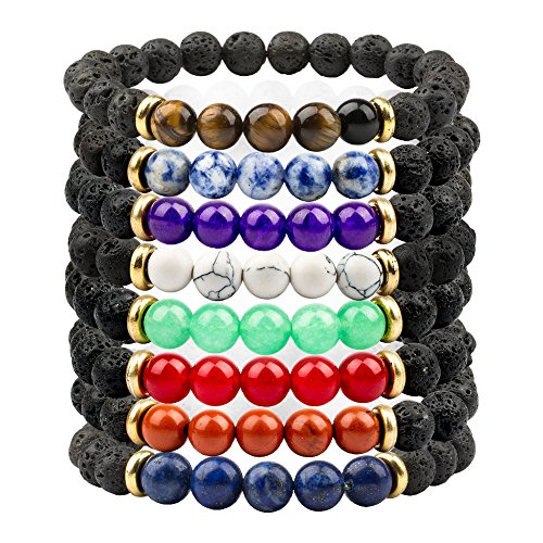 (Citled 8pcs Natural Lava Stone Bracelet Elastic Beaded Bracelet Healing Energy Stretch Unisex Essential Oil Jewelry 8mm)