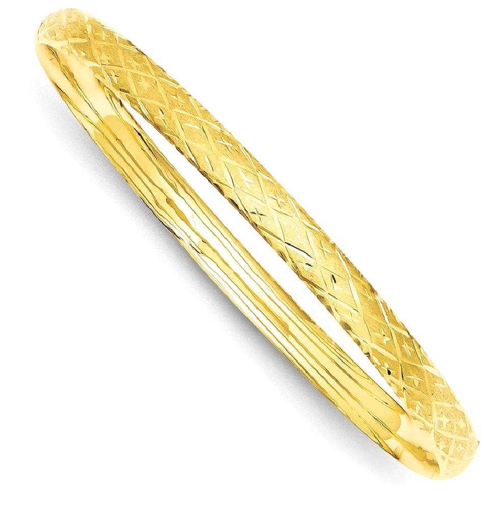 ICE CARATS 14k Yellow Gold 4.75mm Hinged Bangle Bracelet Cuff Expandable Stackable Fine Jewelry Gift Set For Women Heart