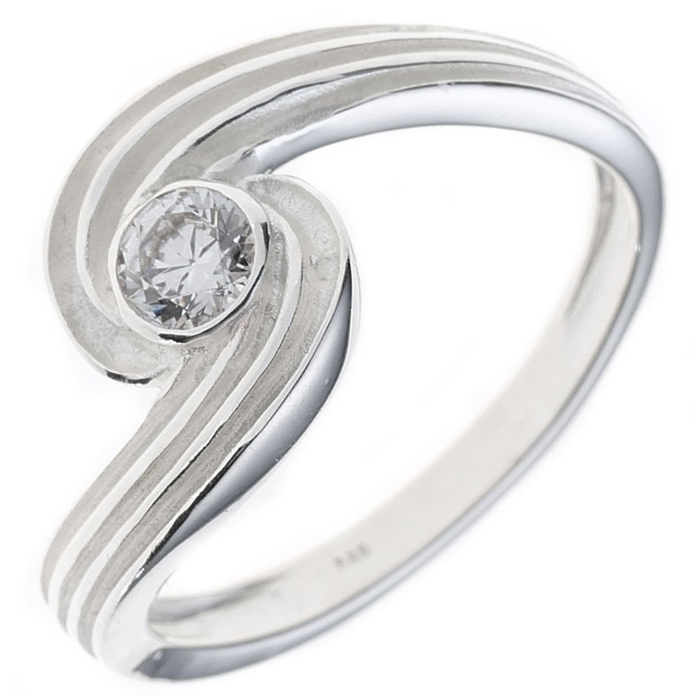Ring Damenring Saphir blau Safir oval Zirkonia weiß 925 Silber schlicht