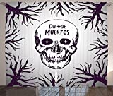 Mexican Decorations Curtains Quote with Spooky Skull Head among Tree Branches Calaveral Carnival Graphic Living Room Bedroom Window Drapes 2 Panel Set Purple