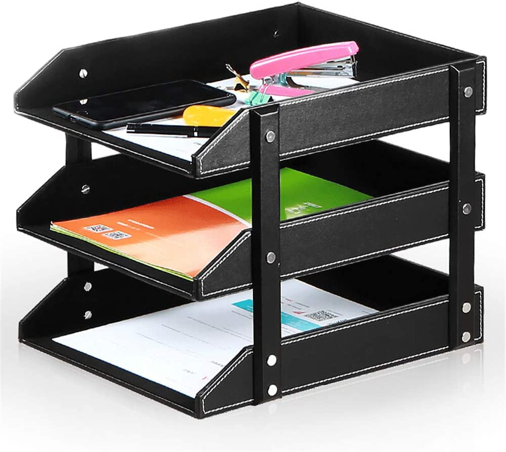 Ayunga 3-Tier Stacking PU Leather Letter Trays,Easy to Assemble Office Desk Supply Organizer, Files Sorter Workplace Desktop Storage Holder for Document/Paper/Stationery/Magazine/Newspape, Black