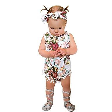 UK Infant Baby Girl Floral Vest Romper Jumpsuit Bodysuit Clothes Outfit Sunsuit