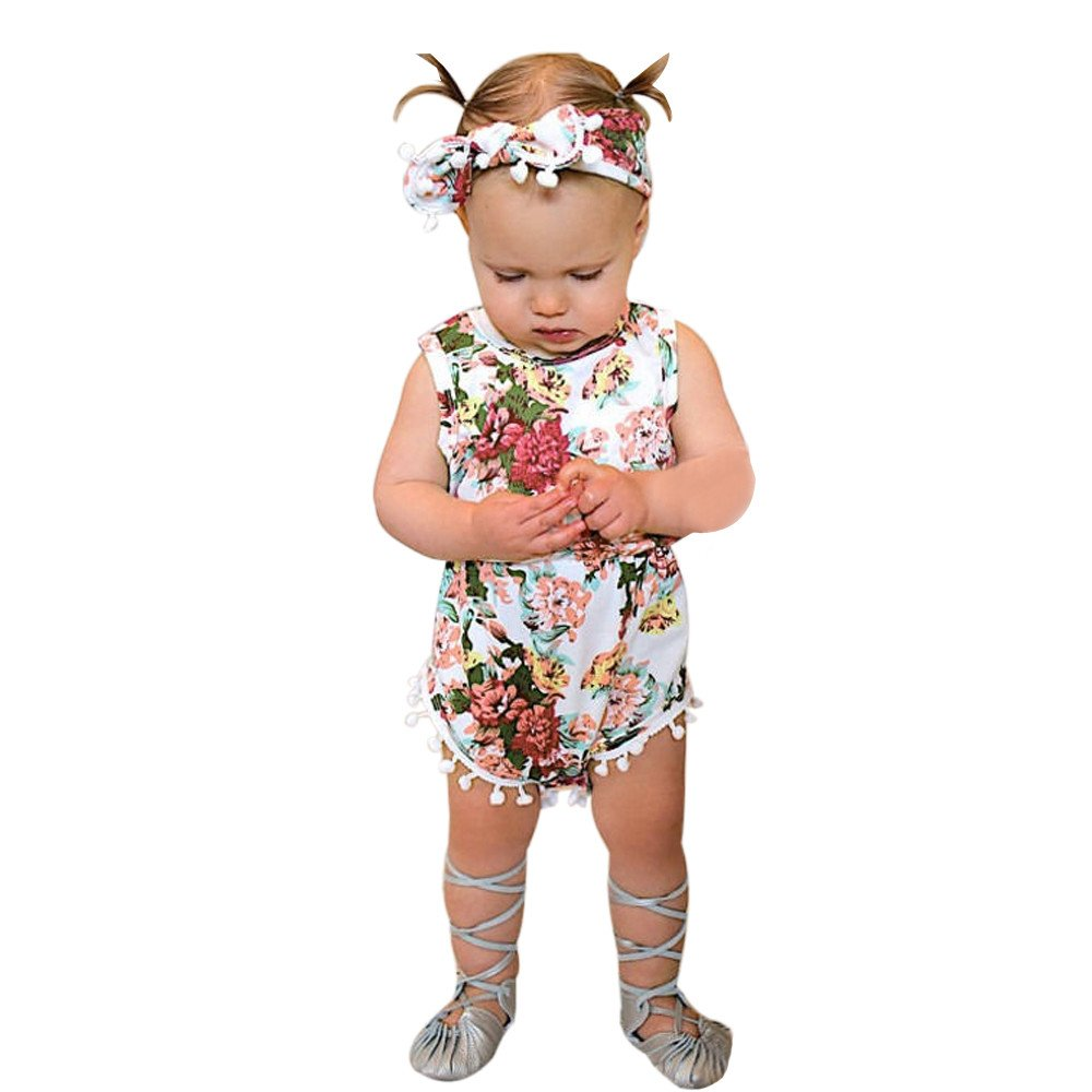 Newborn Baby Girls Floral Tassel Bodysuit Romper Jumpsuit with Bowknot Headband Summer Sleeveless Cotton Outfits (Pink, 6/12M)