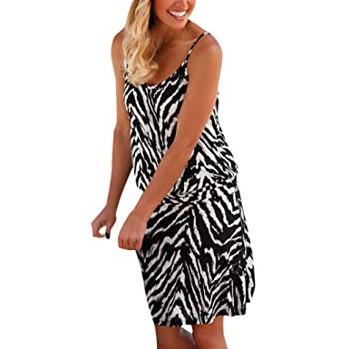 fe50f92afab POTO Women Dresses Ladies Strappy Print Mini Dress Casual Summer Boho Dress  Beach Dresses Sundresses Black