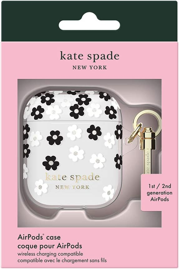 Protective Wireless Charging Cover with Keychain Front LED Visible Kate Spade New York KSAP-001-SFLBW Scattered Flowers Case for AirPods 2 /& 1