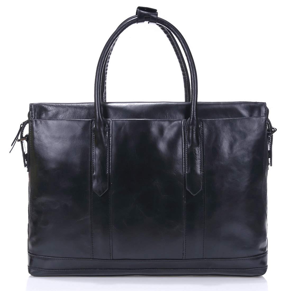 Vergeania メンズレザーハンドバッグトラベルバッグレザービジネスラップトップバッグ折りたたみ式荷物スポーツベルトフィットネスバッグ防水バッグ大型荷物 (色 : 黒) B07RZB1DH3 黒