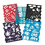 """Kids illustrate quickly and neatly with durable, rip-proof plastic stencils. Two 8-1/2"""" x 11"""" sheets each of 5 designs. Washes easily."""