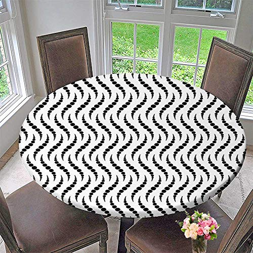 Mikihome Circular Table Cover Curved Dots Design with Bunch of Spots Dots Creative Artisan Black White for Wedding/Banquet 63