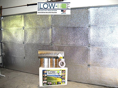 ESP Low-E® SSR Two Car Garage Door(16'x7') Insulation Kit (Foil Interior Finish):Includes ESP Low-E® Reflective Foam Core Insulation (120 sq ft), Razor Knife, Squeegee, Double Adhesive Tape. 25 Years Products and Service From the Creators of Low-E
