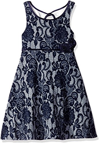 Bonnie Jean Little Girls' Textured Knit Lace Print Aline Dress, Blue, 6X