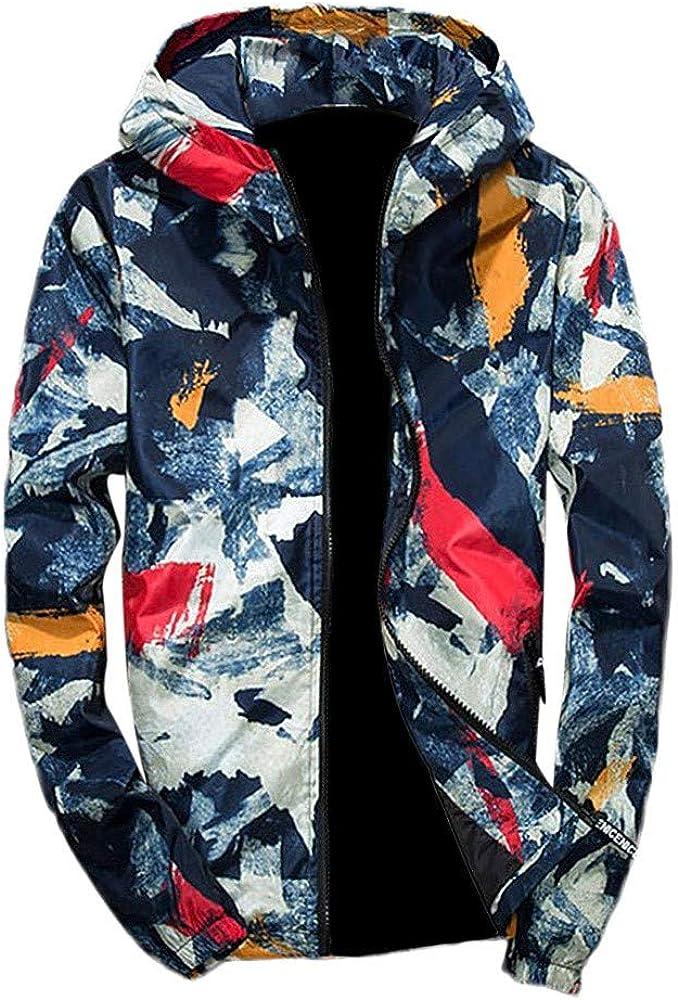 Mens Camouflage Sweatshirt,Fashion Printed Hoodie Coat Casual Long Sleeve Winter Sport Outwear Hot New