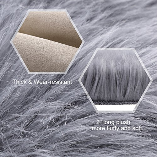 SONGMICS Super Soft Thick Faux Fur Rug, Faux Sheepskin Area Rug for Living Room Bedroom Dormitory Home Decor, Photo Prop, Diameter 3 Feet, Gray URFR91GY by SONGMICS (Image #2)