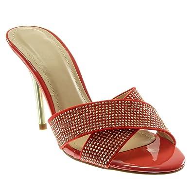 Angkorly Damen Schuhe Mule Pumpe - Stiletto - Slip-on - Schick - Strass - Gekreuzte Riemen Stiletto High Heel...
