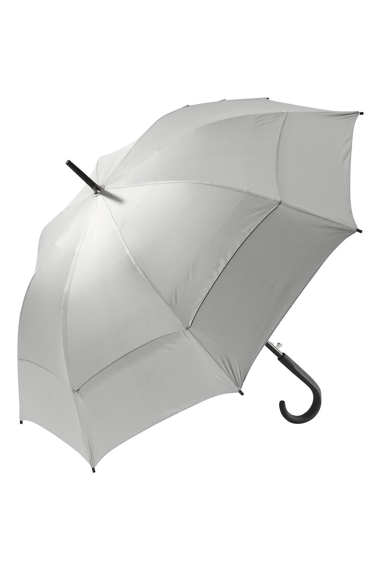 Coolibar UPF 50+ 48 Inch Fashion Umbrella - Sun Protective (One Size- Silver/Green)