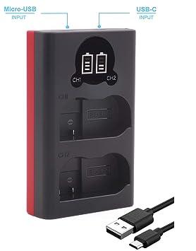 Baxxtar 1852 - Compatible con batería Nikon EN-EL15 EN-EL15a EN-EL15b - Mini Cargador - (Doble/LCD) - Entrada USB-C o Micro-USB