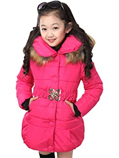 0564d3faf22f Amazon.com  SS CC Girls  Long Flower Printing Bowknot Winter Coat ...
