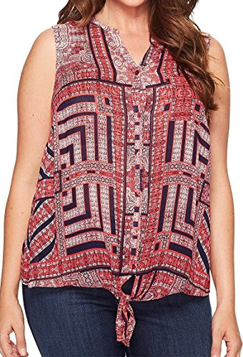 Lucky Brand Women's Plus Size Tie Front Top in Black Multi,