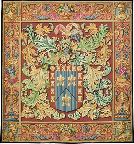 Regal Crest | Woven Tapestry Wall Art Hanging | French Crest Classical Coat of Arms Medieval Romantic Castle Art Historic | 100% Cotton USA -