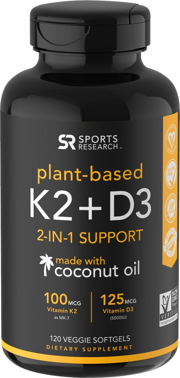 Vitamin K2 + D3 with Organic Coconut Oil for Better Absorption | 2-in-1 Support for Your Heart, Bones & Teeth | Vegan Certified, GMO & Gluten Free - 4 Month Supply!