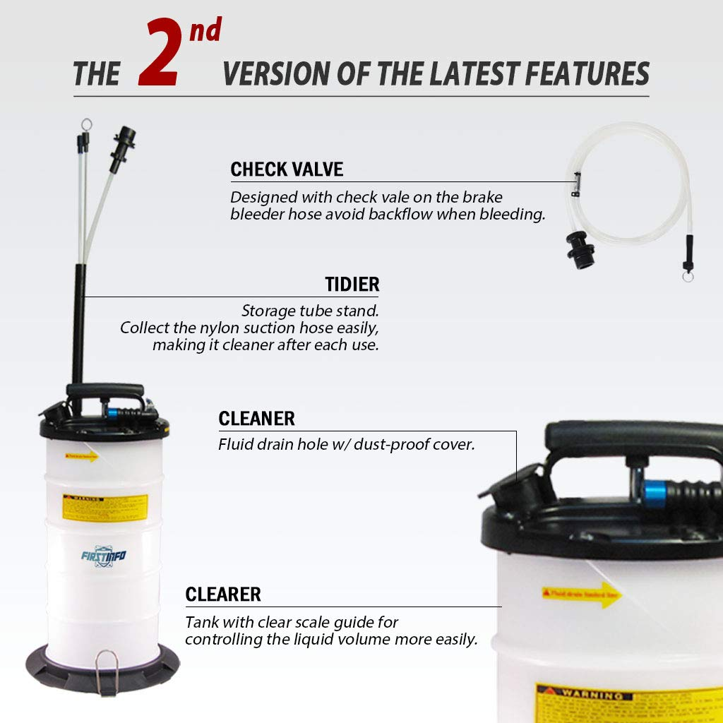 FIRSTINFO Made in Taiwan 9.5L Pneumatic and Manual Operation Oil or Fluid Extractor with 4 pcs Hoses by FIT TOOLS (Image #2)