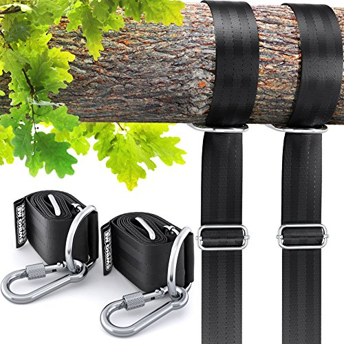 Adjustable Tree Swing Straps Hanging Kit - 2X Heavy Duty 4ft Strap Complete Set - Seat, Tire Swings, Hammocks & More Outdoor Hanger - Your Baby, Toddler, Kids Safety First