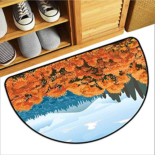 TableCovers&Home Commercial Door Mat, Forest Indoor Doormats for Bedroom, Artistic Display of Backwoods with Open Sky Mountains and Clouds (Orange Pale Blue Army Green, H24 x D36 Semicircle)