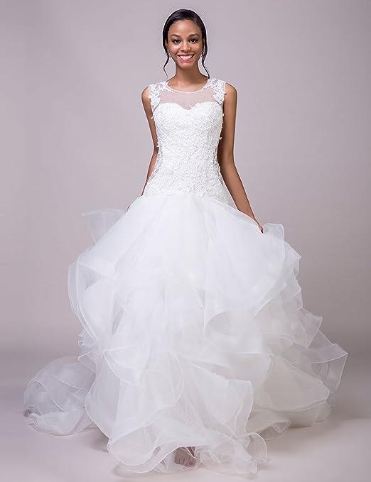 4ed7d6b5841b LORIE Mermaid Wedding Dresses Lace Ruffles Organza White Bridal Dress  Wedding Gown at Amazon Women's Clothing store:
