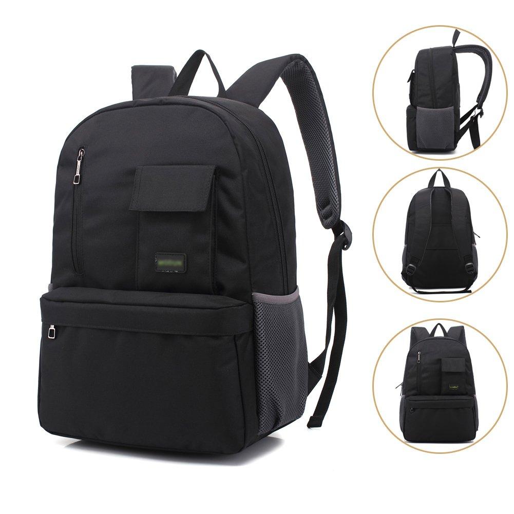 Mochila de ordenador portá til mochila de viaje de negocios, 15,6 pulgadas negro impermeable bolso de hombro resistente para la escuela, trabajo, viajes MODUN MODUN-001