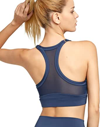 MAVOUR COUTURE Womens Racerback Sports Bra Adjustable Straps Yoga Bras with Removable Padding for Running Fitness