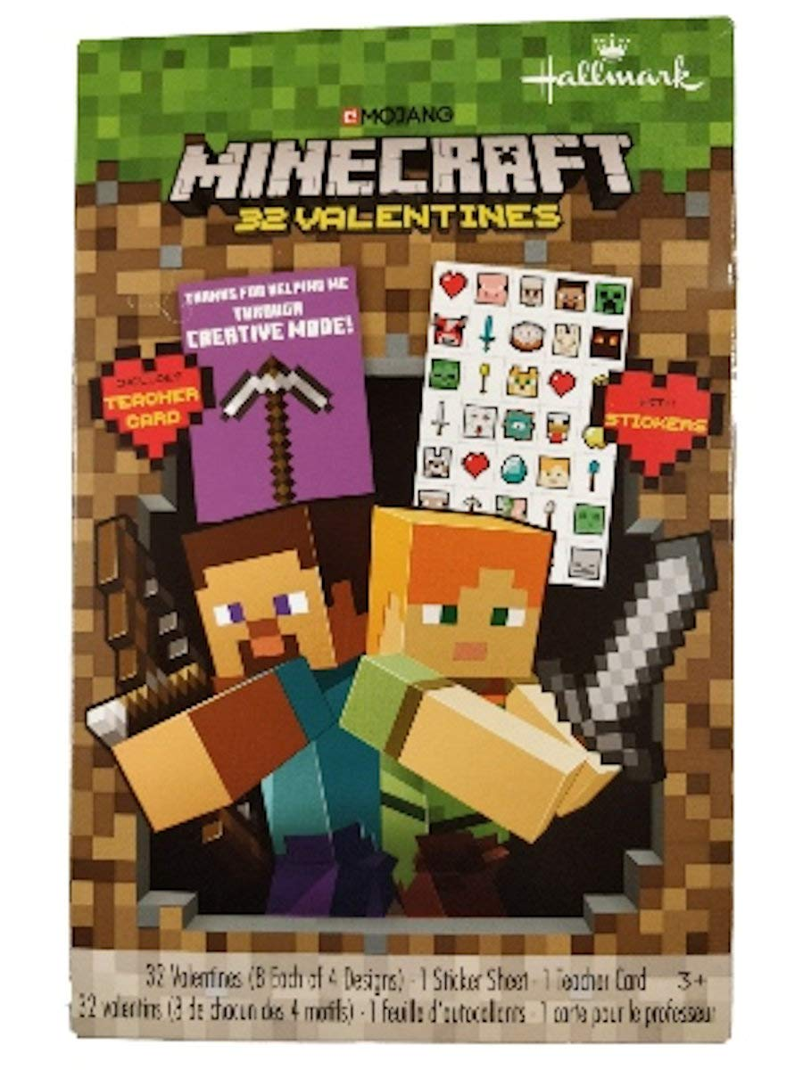 Minecraft 11 Valentine Cards with Stickers: Amazon.in: Office Products