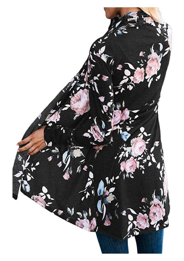 AuntTaylor Womens Chic Long Flowy Cardigan Causal Boho Front Open Jackets Black XL by AuntTaylor (Image #2)
