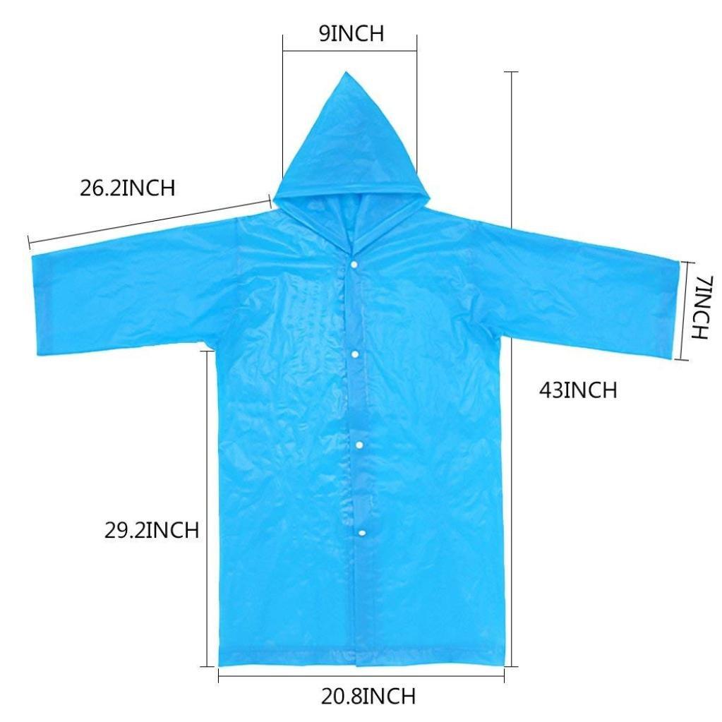 Culater/® 2 Pcs Unisex Kids Hooded Jacket Rain Raincoat Cover Boys Girls Portable Long Rainwear