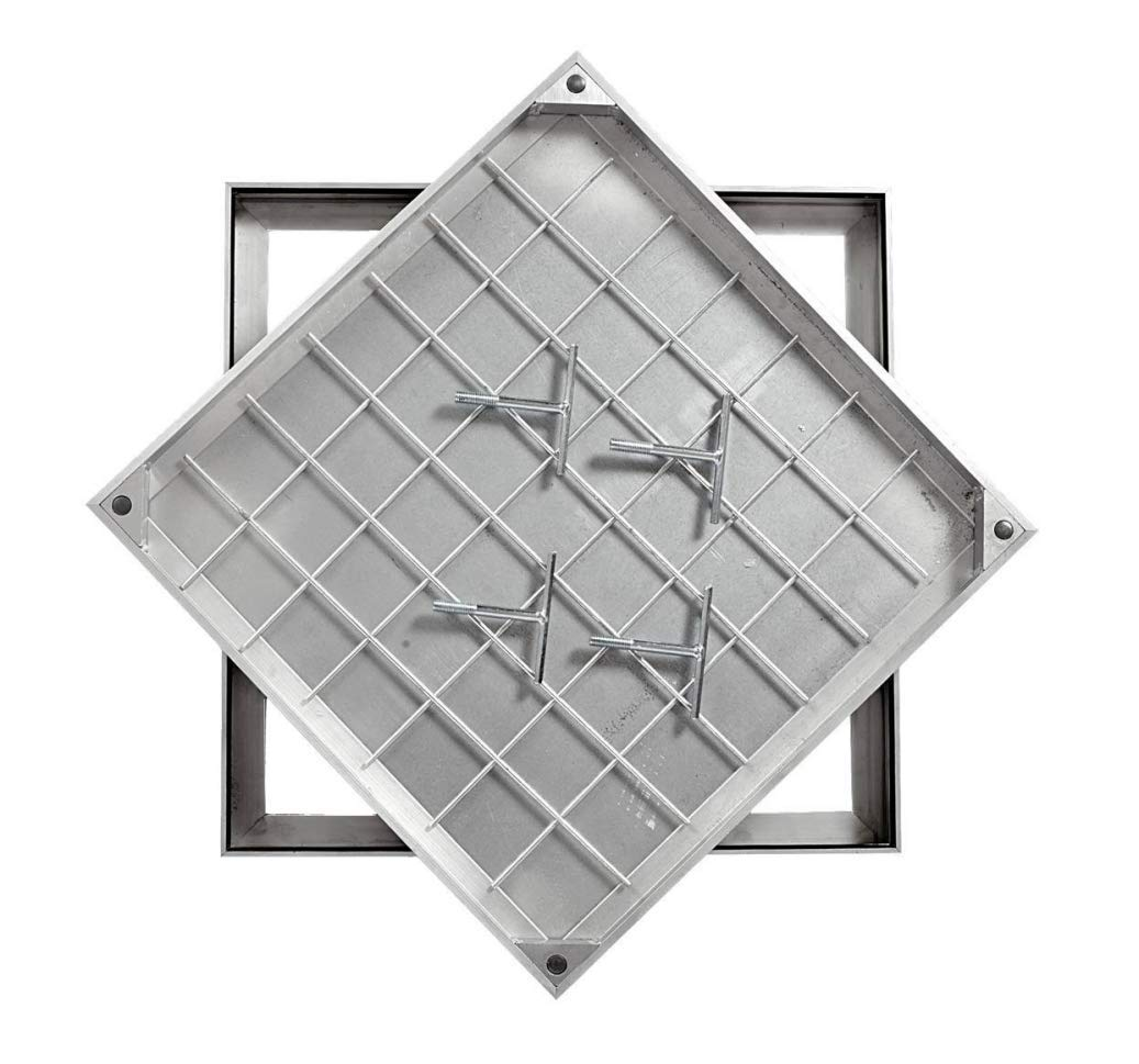 Ecogrid DS-Line-80. 600 X 450 X 68mm Aluminium Double Sealed Recessed Manhole Cover MPP