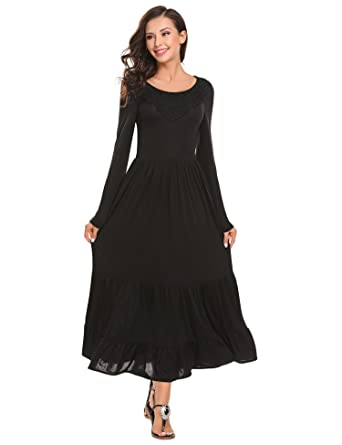 42927af105c6 ELESOL Women Scoop Neck Long Sleeve Smocked Waist Tiered Renaissance Maxi  Dress Black S