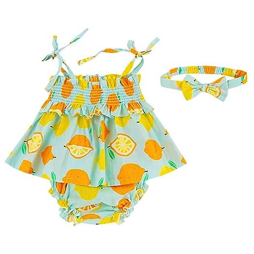 601daf629f Amazon.com: Dinlong Newborn Infant Baby Girls Sleeveless Sling Lemon  Printed Tops +PP Shorts + Hair Band 3Pcs Outfits Sets: Clothing