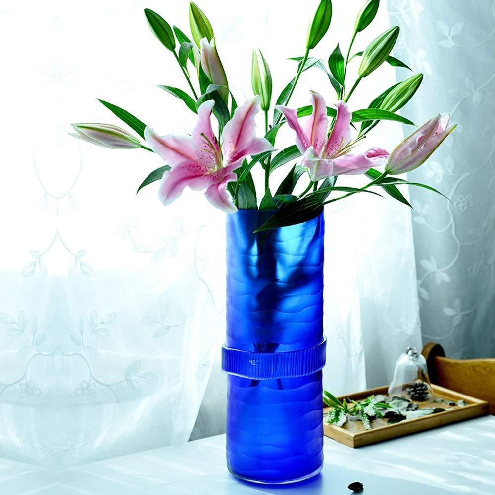 色ガラス花瓶用花緑植物結婚式の植木鉢装飾ホームオフィスデスク花瓶花バスケットフロア花瓶 (色 : 紫の) B07QTJFC5S 紫の