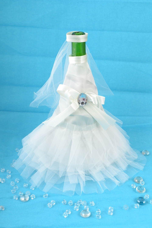 Hermosa hecha a mano Funda Color blanco botella de champán decoración novia Outfit: Amazon.es: Juguetes y juegos