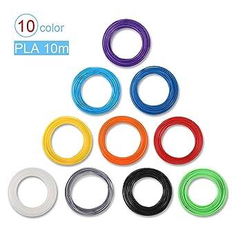 Filamento PLA 1.75 mm para Plumas 3D impresora 3D, 10 Color ...